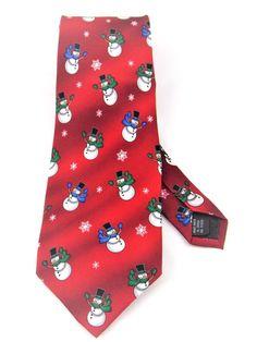 Vintage Men's Snowman Tie Musical Necktie Red Christmas Novelty Tie Holidays  #Hallmark #NeckTie