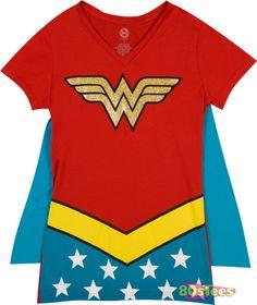 Wonder Woman Caped V-Neck Shirt