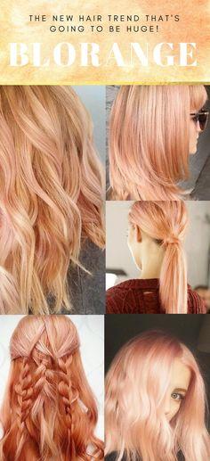 New Spring Hair Trend: Blorange - Hair Inspiration Spring Hairstyles, Cool Hairstyles, Wedding Hairstyles, Elegant Hairstyles, Peach Hair Colors, Pastel Orange Hair, Spring Hair Colors, Apricot Hair, Blorange Hair
