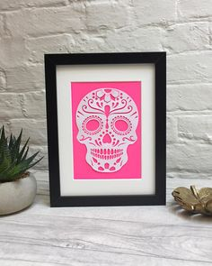 Papercut Sugar Skull / Sugar Skull Papercut / Colour Pop Art / Fluorescent Colors, Colour Pop, Sugar Skull, Paper Cutting, Pop Art, Maui, Create, Unique Jewelry, Handmade Gifts
