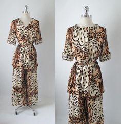 Vintage 70's Leopard Lounge Pants Top Shirt Separates Pantsuit Set M #Unknown