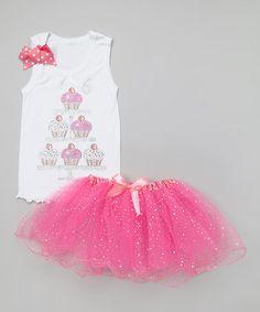 White '6' Cupcake Tank & Pink Pettiskirt - Girls by So Girly & Twirly #zulily #zulilyfinds