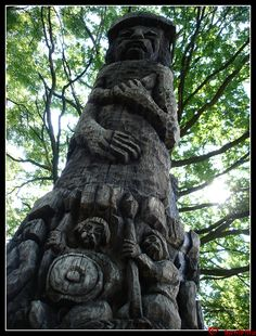 This is a wooden statue of Svetovid, taken during the International Festival of Slavic Warriors Grzybowo 2007, Grzybowo, Poland. #Svetovid, #Slavic, #mythology