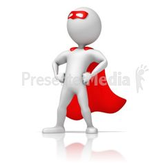 Masked Superhero Standing Strong PowerPoint Clip Art