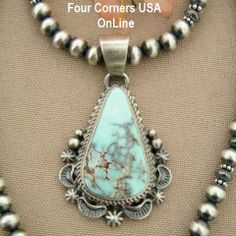 Four Corners USA Online - Dry Creek Turquoise Pendant Silver Bead Necklace Native American Artisan E.M. Linkin NAN-1414, $395.00 (http://stores.fourcornersusaonline.com/dry-creek-turquoise-pendant-silver-bead-necklace-native-american-artisan-e-m-linkin-nan-1414/)