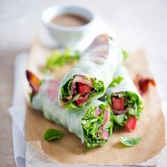 Bacon Lettuce Tomato (BLT) Spring Roll Recipe Appetizers with lettuce, tomatoes, bacon, fresh basil, herbs, mint, rice paper, soy sauce, mayonnaise, fresh lime juice, sesame oil