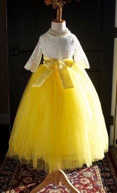 Girls Yellow Tutu Long Tulle Skirt
