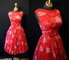 Gorgeous 1950's red chiffon floral rose print new by wearitagain, $178.00