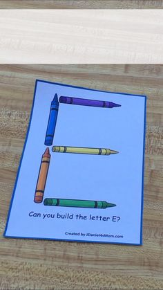This free set of task cards invites children to build the letters of the alphabet with crayons. This STEM activity would be a great center activity. Preschool Learning Activities, Letter Activities, Preschool Curriculum, Preschool Classroom, In Kindergarten, Writing Activities, Teaching Resources, Homeschool, Writing Center Preschool