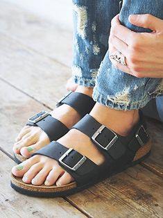 Black 2 strap & back strap Birkenstocks Size - 7