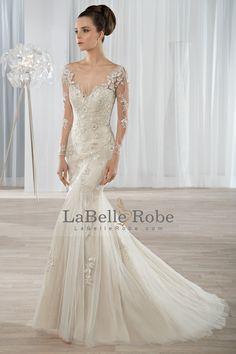 2017 Sexy Open Back Scoop à manches longues Tulle avec des robes de mariée Applique € 270.78 LBRP84NXRJ3 - LaBelleRobe.com for mobile