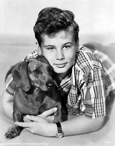 Young actor Dean Stockwell with Dachshund on acertaincinema.com