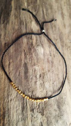 Bracelet fin vermeille or 24K fil de coton noir par RoseDruzy