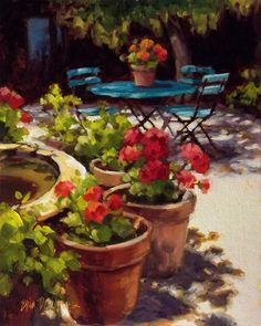 """Patio Perfection"" ©Erin Dertner As she reaches further to simplify and suggest detail, her allegiance rests more and more with the impressionist school, and this struggle to be honest and deliberate continues to result in images that reflect peace and a yearning for stillness in a world that is often discordant."