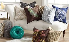 Decorative Throw Pillows - Designer Looks at 55 Downing Street Home Textile, Decorative Throw Pillows, Textiles, Cleaning, Living Room, Street, Bed, Design, Home Decoration