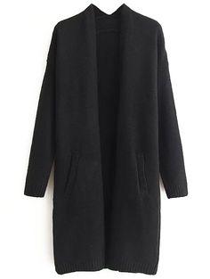 Veste pull longue avec poche - noir -French SheIn(Sheinside)