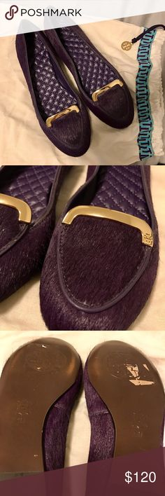 Tory Burch Calf Hair Jess Flats Tory Burch calf hair JESS flats. Purple calf hair trimmed with purple leather gold tongue embossed with designer logo. New, never worn. Includes dust bag. Tory Burch Shoes Flats & Loafers