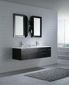 Modern simple bathroom, black and white.