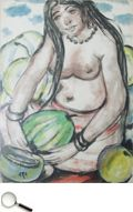 Krishnaji Howlaji Ara (1914 - 1985), Untitled (Semi-Nude Watermelon Seller), watercolour on paper