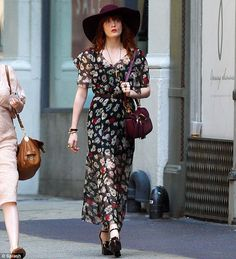 Summer style: Florence Welch stepped out for a shopping trip in New York City on Tuesday in a sheer floral maxi dress