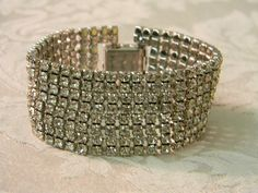 Vintage Wide Rhinestone Cuff Bracelet by TheVintageBrides on Etsy, $60.00
