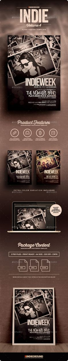 Indie Flyer\/Poster Vol 7 Party events, Festivals and Promotion - band flyer template