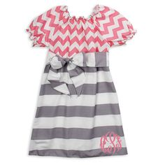 Lolly Wolly Doodle Girls and Baby Pink Chevron Gray Stripe Sash Dress. Picture perfect. Available at lollywollydoodle.com