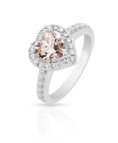 Mastercrafted in white gold set with diamonds and a heart shaped morganite centre stone. Morganite Engagement, Engagement Rings, Pretty Rings, Love Symbols, Diamond Are A Girls Best Friend, Inspirational Gifts, Heart Shapes, Piercings, Jewelery