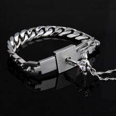 Romantic Titanium Bracelet And Angel's Heart Key Necklace Sterling Silver Set For Couple - USD $59.95