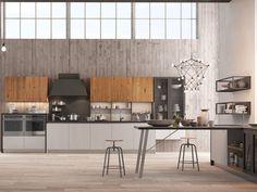 #Cucina lineare #industrial con penisola | #Arredamento Mobili #interiordesign