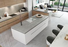 The combined features of the Zola & Tavola doors bring beauty and functionality together effortlessly. White Oak Kitchen, White Gloss Kitchen, Handleless Kitchen, Kitchen Cabinetry, Kitchen Interior, Kitchen Design, Kitchen Ideas, Open Plan Kitchen Living Room, Dining Room