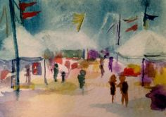 "Original ACEO - watercolor on paper... ""At the Fair"" Summer memories"