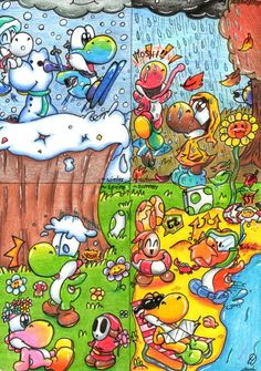 That´s my entry for the four seasons contest from the Official-Yoshi-Club [link] It took veeery long until I had finished it and I really tried my best. Yoshi Four Seasons Contest Super Mario And Luigi, Mario Bros., Yoshi, Marvel Cartoon Movies, Cartoon Art, Video Games Funny, Funny Games, Nintendo, Cool Lego Creations
