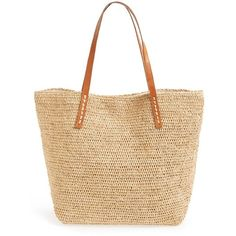 Mar y Sol 'Portland' Packable Raffia Tote (€120) ❤ liked on Polyvore featuring bags, handbags, tote bags, natural, woven tote, tote purse, beige purse, over the shoulder purse and mar y sol tote