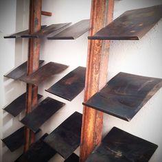Industrial shoe rack by StahlmanufakturWind on Etsy Industrial Shoe Rack, Rustic Industrial, Wood Shoe Rack, Shoe Racks, Deep Shelves, Shoe Display, Shoe Organizer, Storage Design, Storage Spaces