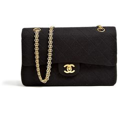 Chanel Vintage Black Jersey Quilted Chanel 2.55 Bag ($3,163) ❤ liked on Polyvore