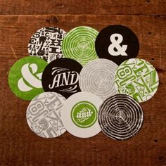 All of my favorite things! Black/Green/Grey, Typography, Coasters, and &&&!  by Two Paper Dolls