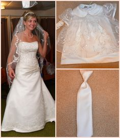 Baby Dedication Day dress- and tie for Ryan so he has a special keepsake, too! Both made from Mommy's wedding dress :)