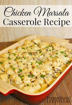 Chicken Marsala Bake ♡ Easy Chicken Recipes, Turkey Recipes, New Recipes, Dinner Recipes, Favorite Recipes, Dinner Ideas, Pasta Recipes, Chicken Meals, Gratin