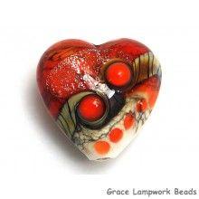 Grace Lampwork Beads // 11831105 - Fire Red Stardust Heart