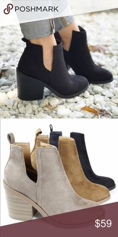 """Black Side Cut Booties Black goes with everything! These black booties will go with all your favorite outfits. The trendy 3"""" block heels are chic and comfortable. They have an easy slide on style. The NEW Boutique Shoes Ankle Boots & Booties"""