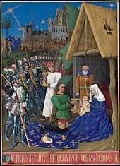 Jean Fouquet : Heures d'Étienne Chevalier ~ Adoration of the Magi (Musée Condé - Chantilly) ジャン・フーケ Roi Charles, King Charles, Les Trois Rois Mages, Jean Fouquet, Renaissance Kunst, French History, Star Of Bethlehem, Book Of Hours, Medieval Art