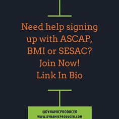 Need help signing up with ASCAP BMI or SESAC?  Join Now!  Link In Bio  Join Now!  http://ift.tt/JmQzAV  #musicbusiness #futureproducer #grammyproducer #musicproducerlife #producerlife #musicnetworking #producer #producermotivation #producergrind #produceroftheyear  #musicbusiness101 #musicbusinesslife #musicbusinessinterns #musicbusinessbasics #musicbusinessmanagement #musicbusinessconference #themusicbusiness #learnthemusicbusiness #dynamicproducer #musicbusinessadvice #musicbusinesses