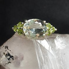 Blue Topaz and Peridot Engagement Ring $68 sz 6.25