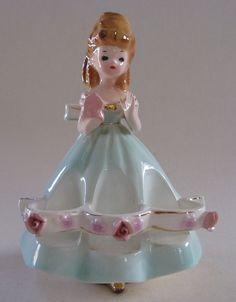 Vintage Japan Pottery Lady Figurine Lipstick Holder Pretty Girl Green Dress Rose