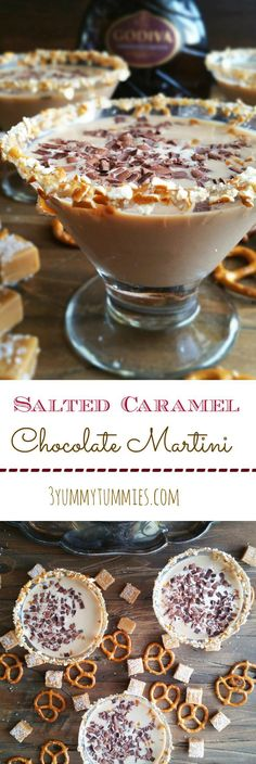 Godiva Chocolate Liqueur and a pretzel rim make this my favorite chocolate martini recipe! #chocolatemartini #godivachocolate #saltedcaramel #saltedcaramelchocolatemartini #martini #dessertmartini
