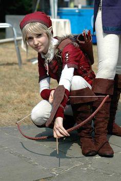 Red female Link cute cosplay.