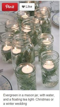 use pine tree needles, mason jar, and a candle. place seaweed or pine needles in the mason jar and then fill with water. place candle in jar on top of water then light.