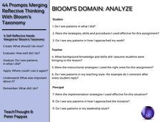 44 Prompts Merging Reflective Thinking With Bloom's Taxonomy. It includes students, teachers, and principals!