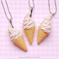 colar pingente sorvete de flocos  - sorvete casquinha miniatura - miniature ice cream cone charm necklace - bijuteria infantil
